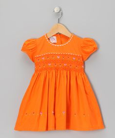 Orange Rose Smocked Dress - Toddler & Girls | Daily deals for moms, babies and kids [REUNIONS ?!]