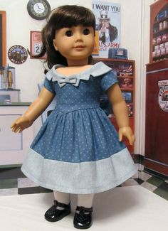 "1950's Fashion Frock- Made to fit 18"" American Girl Doll, An Original Design By KeepersDollyDuds. Listed 2/25/14. $84.49"