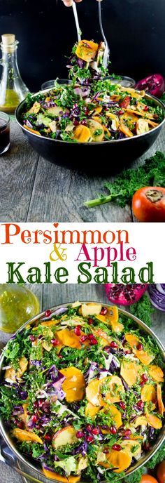 Sweet Persimmon Apple Kale Salad Recipe. Festive, rainbow goodness salad that's quick, light as air, crunchy, sweet and vegan. Dressed up with a sweet secret ingredient dressing! #ad #SmartWayToShareJoy www.twopurplefigs.com
