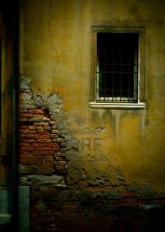 Crumbling wall in Venice, Italy