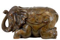 Woodland Imports resin laying elephant statue