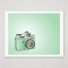Mint Green Holga Camera - Illustrated Art Print by Diesel & Juice