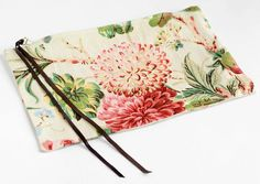 Printed Floral Linen Clutch with Pink Lining and by PeterValentina, $65.00