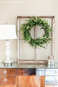 43 country window frame wall decor, magnolia home by joanna gaines Cheap Home Decor, Diy Home Decor, Summer Decoration, Green Decoration, Spring Decorations, Window Frame Decor, Window Panes, Green Wreath, Vintage Windows