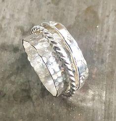 Rings for women Sterling Silver / Spinner Ring Silver / Meditation Ring by JoyLaRoseJewelry on Etsy Silver Rings Handmade, Silver Gifts, Sterling Silver Flowers, Sterling Silver Jewelry, Meditation Rings, Thing 1, Spinner Rings, Jewelry For Her, Silver Hoop Earrings