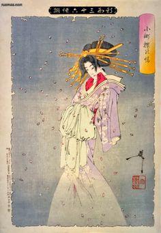 Tsukioka Yoshitoshi - O espírito da cerejeira de Komachi