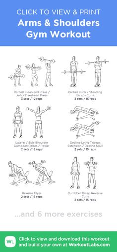 Arms & Shoulders Gym Workout –click to view and print this illustrated exercise plan created with #WorkoutLabsFit