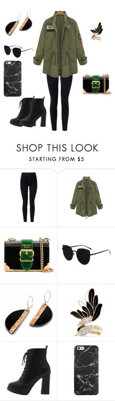 """Khaki hipster jacket with black jeans"" by shreyaroy994 ❤ liked on Polyvore featuring J Brand, Prada and Lanvin"