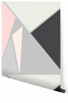 Metallic Silver Prism wallpaper in grey by drop it MODERN™