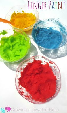 Easy peasy fingerpaint recipe safe for even the littlest of littles- Edible and only two ingredients!