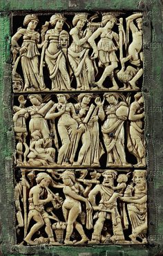 Three rows of actors with masks. Panel of the Diptych of Bourges (5th-6th) France   Bibliotheque Nat.,Cabinet des Medailles, Paris, France