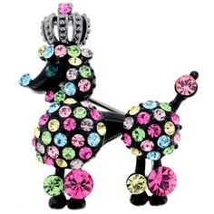 Bright, novel, unusual...Multicolor Crystal Black Poodle Pin Brooch