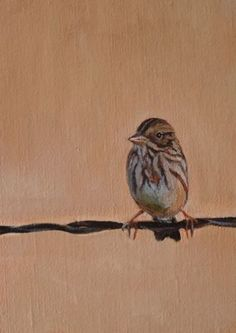 Bird on a WIre, painting by artist Donna Pomponio