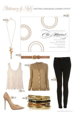 Stationery & Style: Neutral Rehearsal Dinner Outfit (featuring our 'Color Burst' party invitation) Simple Outfits, Chic Outfits, Pretty Outfits, Wet Seal Fashion, Rehearsal Dinner Outfits, Cocktail Party Outfit, Celebrity Dresses, Celebrity Style, Night Club Outfits