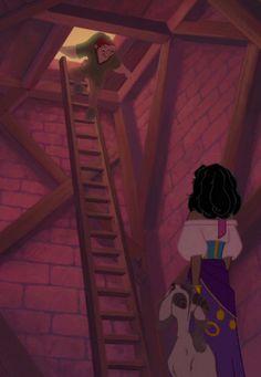 Quasimodo, Esmeralda, and Djali. Disney Girls, Disney Love, Disney Magic, Disney Animation, Animation Film, Disney And Dreamworks, Disney Pixar, Bells Of Notre Dame, Esmeralda Disney
