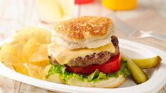 Grilled Biscuit Cheeseburgers - easy summer treat on the grill- cheeseburgers with grilled Pillsbury™ biscuits | Beef Recipes