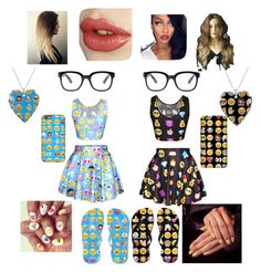 """emoji everything with the bestie @i-stay-trendy"" by niyabaee309 ❤ liked on Polyvore"