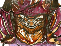Mass Effect Wrex fan art created with tea and ink. The image started as a tea stain and then was free hand inked. #MassEffect