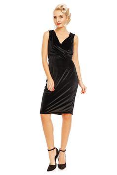 b566df02250 Venus Van Chic Cheryl Fitted Velvet Vintage Dress in Black Šaty Z 50. Let