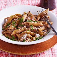 Creamy Prosciutto & Porcini Penne | http://www.rachaelraymag.com/recipe/creamy-prosciutto-porcini-penne/