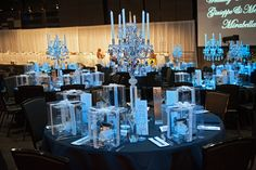 Amazing crystal candelabra centerpiece. Having pinspotting at your wedding or an event is a great idea especially if you have crystal centerpieces. #weddings #melbourne #crystal #centerpiece www.decorit.com.au (24)