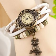 Vintage Casual Owl Genuine PU Leather Weaving Beads Bracelet Watch women ladies female dress Luxury quartz wrist watch Gift