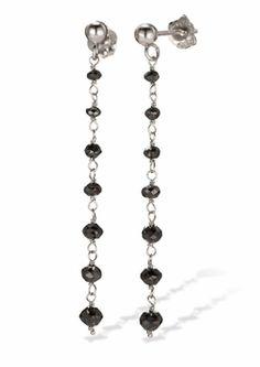 14k White Gold Briolette Drop Black Diamond Earrings