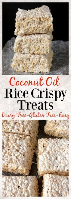 Coconut Oil Rice Crispy Treats- 3 ingredients and 10 minutes until these easy treats are ready! Gluten free, dairy free, and so delicious!!
