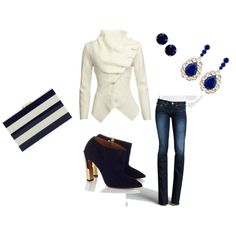 """Blue and White"" by apryl-jump on Polyvore"