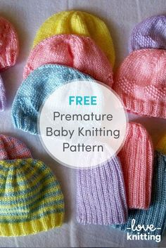 FREE Premature Baby Knitting Pattern! Why not challenge yourself to trying the five different versions of these super colorful hats? Eyelets, hearts, diamonds, stripes, and rib patterns all available for free on LoveCrochet.com!
