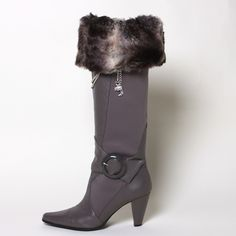 Love the gray chinchilla boot toppers with gray boots.  www.mytopoftheboot.com