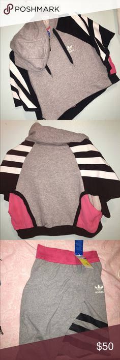 Adidas co set crop sweater and skirt Love this outfit just cannot fit me  the top was 40 and the bottom was 40 so I'm selling it 25 piece!! Adidas Tops Sweatshirts & Hoodies