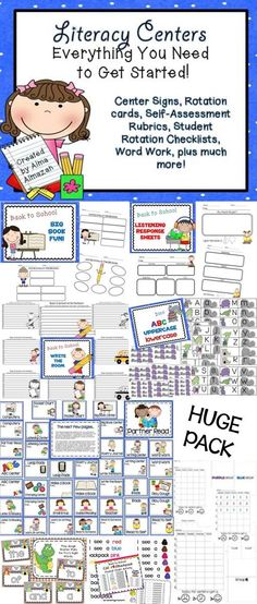 Set up your Literacy Centers with this pack. Has everything you need! Reading Centers, Reading Activities, Literacy Activities, Teaching Reading, Teaching Resources, Guided Reading, Literacy Stations, Literacy Centers, Student Self Assessment