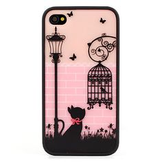 Protective Polycarbonate Bumper and Back Cover for iPhone 4 and 4S (Black Cat) - USD $ 4.89