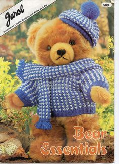 Knitting Patterns For Teddy Bear Clothes Pdf Vintage Knitting Pattern 13 14 Teddy Bear With Clothes In Double Knitting Yarn. Knitting Patterns For Ted. Teddy Bear Knitting Pattern, Knitted Teddy Bear, Knitting Patterns, Teddy Bears, Knitting Projects, Crochet Patterns, Knitting Yarn, Baby Knitting, Crochet Baby