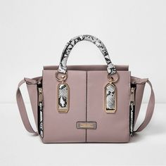 c5337adae6 River Island Pink snake print winged tote handbag ($70) ❤ liked on Polyvore  featuring