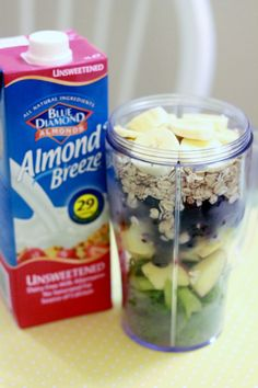 Oatmeal Breakfast Smoothie 1 cup of chopped Kale 1/2 an apple (I play this by ear, depending on the size of the apple) 3/4 to 1 cup of blueberries (this is what gives it it's beautiful color! I also use frozen, makes my drink colder) 1 banana 1/2 cup uncooked oats (I have been using regular oats [not the quick ones] but I'm sure the quick ones will work just as great) 1 cup unsweetened almond milk Optional: 1/2 tsp cinnamon
