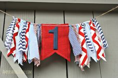 First Birthday Party Banner, Highchair High Chair Bunting, Patriotic Red White and Blue, Birthday Party Decor Cake Smash Photo Prop Backdrop