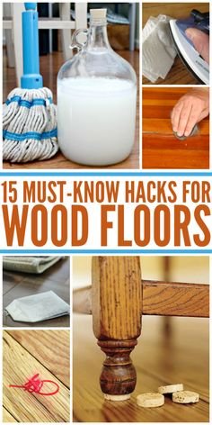 15 Wood Floor Hacks Every Homeowner Needs to Know - One Crazy House Scratches, scuffs, and dents are inevitable on wood floors. We've found 15 wood floor hacks to help you keep your floors looking like new. Deep Cleaning Tips, House Cleaning Tips, Natural Cleaning Products, Cleaning Solutions, Spring Cleaning, Cleaning Hacks, Diy Hacks, Best Carpet Cleaning Solution, Cleaning Supplies