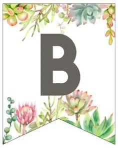 Succulent Free Printable Alphabet Banner Letters - Paper Trail Design