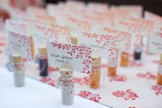 These boutique salt shakers doubled as guest gifts and table placement cards.