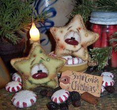 Primitive Christmas Santa Sugar Cookie Ornament Snowman Star Vtg Patti's Ratties: