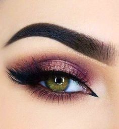 Pin Up Liner + Lashes + Copper Under Eye & Outer V + Purple & Rose Gold Eyelid