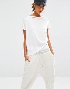 Daisy+Street+Relaxed+T-Shirt+With+Distressed+Neck
