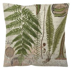 100% Cotton Canvas and Burlap Botanical Fern Print on Vintage French Script and Stamps Green and Brown Throw Pillow Cover Euro Sham
