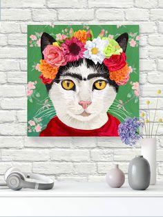"""Frida Khalo inspired #catart on #gicleeprint #canvas 11/2"""" stretchers gallery wrapped. #autism #autismawareness #wallart #walldecorart #catprint #catdecor #catlovers #catwallart #artprintsforsale #artprint"""