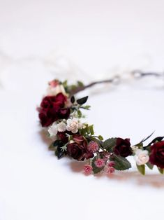 Burgundy flower hairpiece Bridal floral accessory Rustic   Etsy Burgundy Flowers, Lilac Flowers, Faux Flowers, Flower Crown Wedding, Flower Crowns, Wedding Flowers, Bridal Headpieces, Maroon Wedding, Hair Pieces