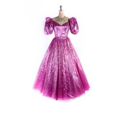 Vintage 80s Prom Dress 1980s Prom Dress Pink Lame Dress Metallic Pink... ($280) ❤ liked on Polyvore featuring dresses, gowns, purple prom dresses, prom ball gowns, vintage gowns, vintage evening dresses and prom gowns