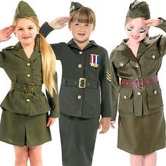 Ww2 army uniform + hat #girls fancy #dress 1940s military #childrens kids costume,  View more on the LINK: http://www.zeppy.io/product/gb/2/272408825045/
