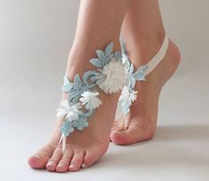 Barefoot Sandals Wedding, Beach Wedding Shoes, Crochet Barefoot Sandals, Beaded Foot Jewelry, Ankle Jewelry, Blue Sandals, Bare Foot Sandals, Wedding Gloves, Female Feet